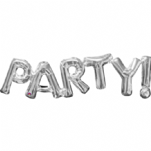 "Silver PARTY Phrase Mini-Foil Balloon (9"" Air) 1pc"